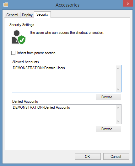 Screenshot showing section security in the XIA Links interface