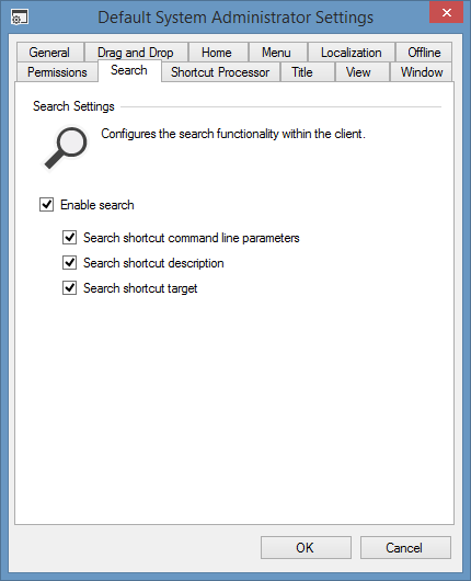 Screenshot showing some search settings in the XIA Links interface