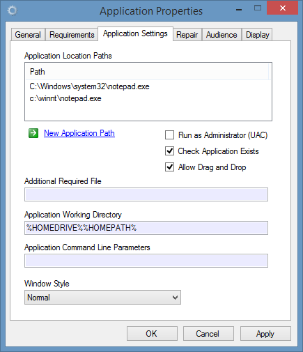 Screenshot of application location settings in the XIA Links interface