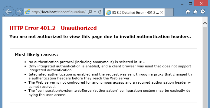 HTTP Error 401 2 - You are not authorized to view this page